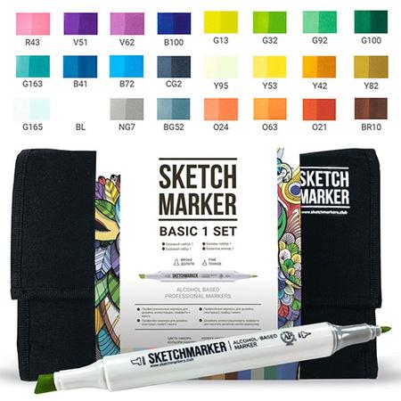 Набор маркеров SKETCHMARKER Базовые цвета Basic set 1 24 цветов 24bas1