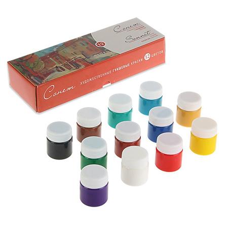 Набор гуашевых красок Сонет 12 цветов 40 мл баночки в картоне 350433