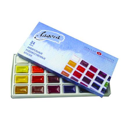 Набор акварельных красок Ладога 24 цвета 2,5 мл кюветы в картоне 350108