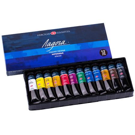 Набор акриловых красок Ладога 12 цветов 18 мл тубы в картоне 350425