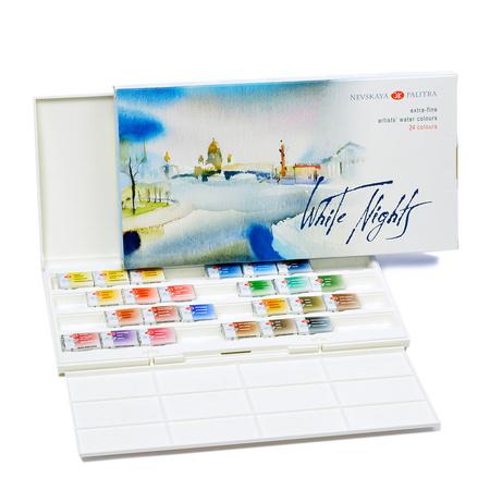 """Набор акварельных красок """"Пейзаж"""" 24 цвета 2,5 мл кюветы в пластике 352635"""