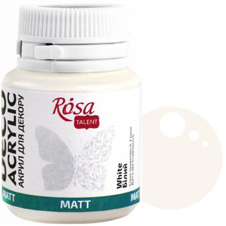 Краска акриловая для декора ROSA 20 мл матовый (01) Белый 20001