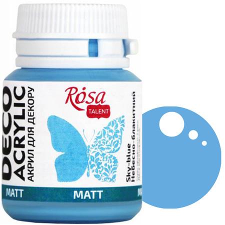 Краска акриловая для декора ROSA 20 мл матовый (34) Небесно-голубой 20034