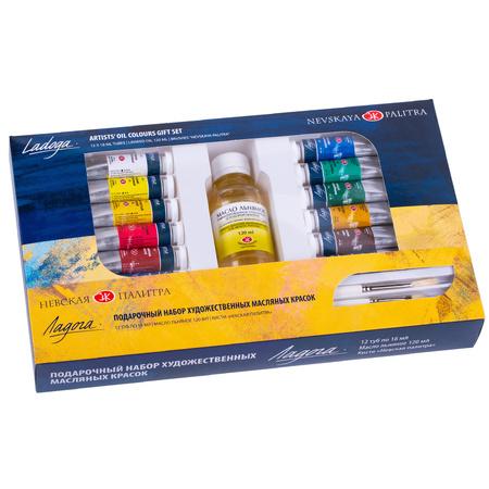 Подарочный набор масляных красок Ладога 12 цветов 18 мл тубы в картоне + льняное масло + кисти 352301
