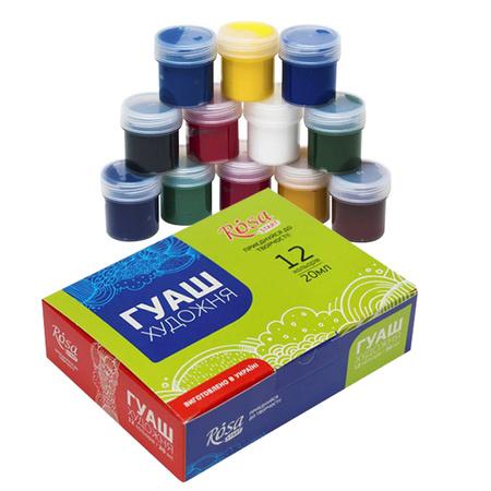 Набор гуашевых красок ROSA START 12 цветов 20 мл баночки в картоне 221542