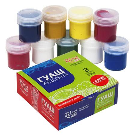 Набор гуашевых красок ROSA START 8 цветов 20 мл баночки в картоне 221543