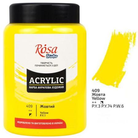 Краска акриловая ROSA Studio 400 мл (409) Желтая 322419409