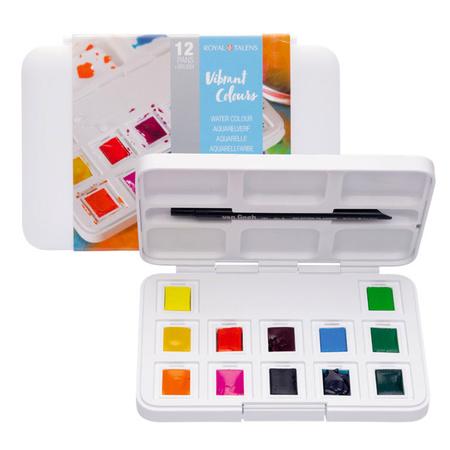 Набор акварельных красок VIBRANT COLOURS 12 цветов 1,3 мл кюветы в пластике + кисть 20808643