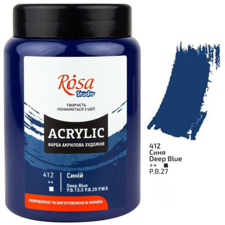 Краска акриловая ROSA Studio 400 мл (412) Синяя 322419412