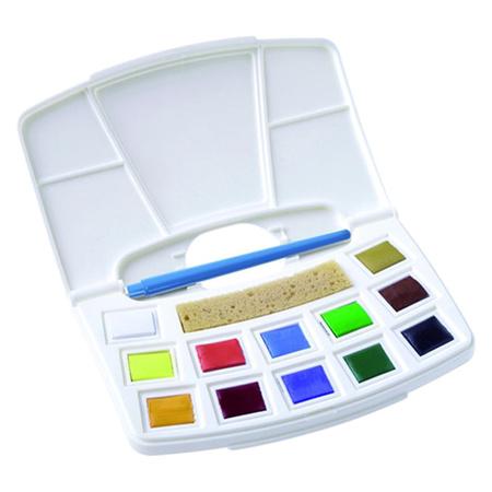 Набор акварельных красок Pocket box 12 цветов 2,5 мл в пластике + кисть + спонж 9022112M