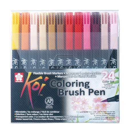 Набор маркеров Koi Coloring Brush Pen 24 цвета XBR-24
