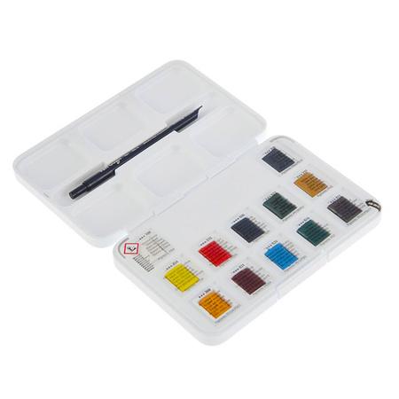 Набор акварельных красок VAN GOGH 12 цветов 2,5 мл кюветы в металле + кисть 20838612