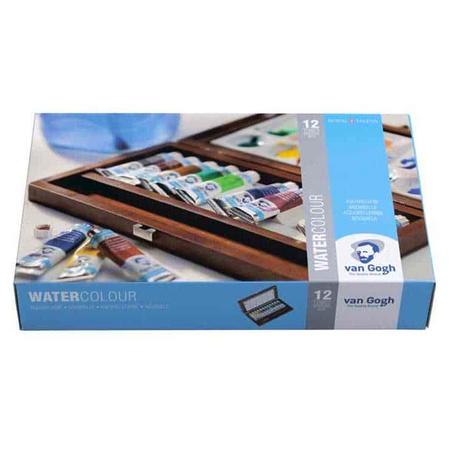 Набор акварельных красок VAN GOGH 12 цветов10 мл тубы в дереве + 2 кисти + палитра 20840112