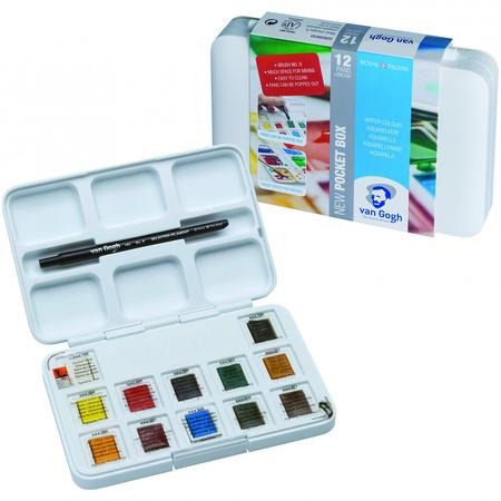 Набор акварельных красок VAN GOGH Pocket box 12 цветов 2,5 мл кюветы в пластике + кисть 20808631