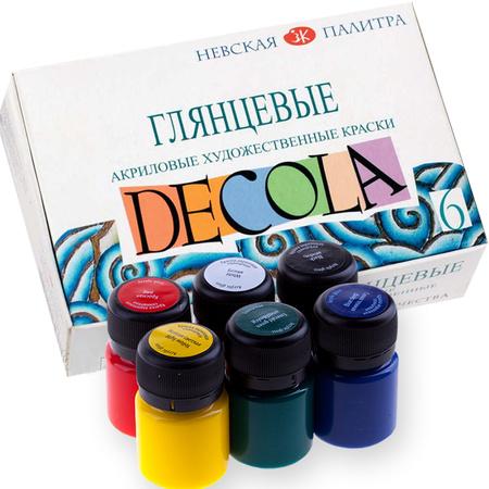 Набор акриловых красок DECOLA глянец 6 цветов 20 мл баночки в картоне 350421