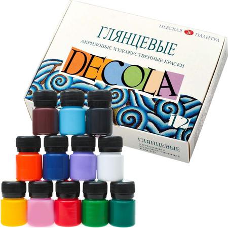 Набор акриловых красок DECOLA глянец 12 цветов 20 мл баночки в картоне 350434