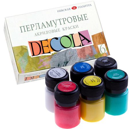 Набор акриловых красок DECOLA перламутр 6 цветов 20 мл баночки в картоне 350816