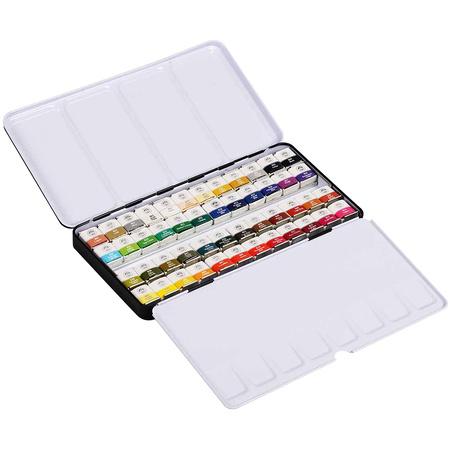 Набор акварельных красок GALLERY 48 цветов 2,5 мл полукюветы в металле MWPH48