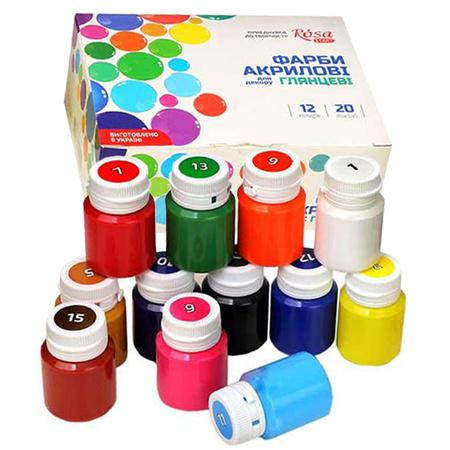 Набор акриловых красок для декора ROSA START глянец 12 цветов 20 мл баночки в картоне 90747258