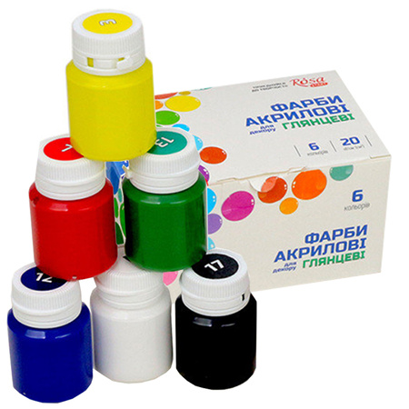 Набор акриловых красок для декора ROSA START глянец 6 цветов 20 мл баночки в картоне 90747255