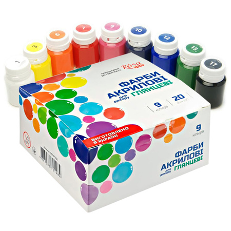 Набор акриловых красок для декора ROSA START глянец 9 цветов 20 мл баночки в картоне 90747256