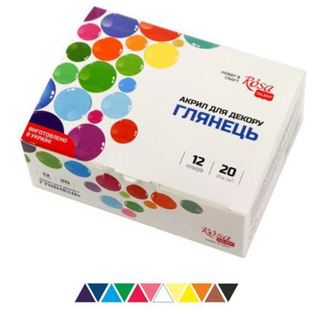 Набор акриловых красок для декора ROSA START матовый 12 цветов 20 мл баночки в картоне 90747129