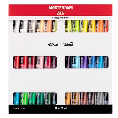 Набор акриловых красок AMSTERDAM STANDARD 36 цветов 20 мл тубы в картоне 17820436