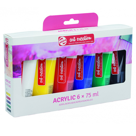 Набор акриловых красок ArtCreation 6 цветов 75 мл тубы в картоне 3582806M