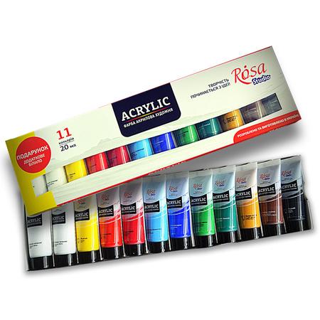 Набор акриловых красок ROSA Studio 11 цветов 20 мл тубы в картоне 90747254