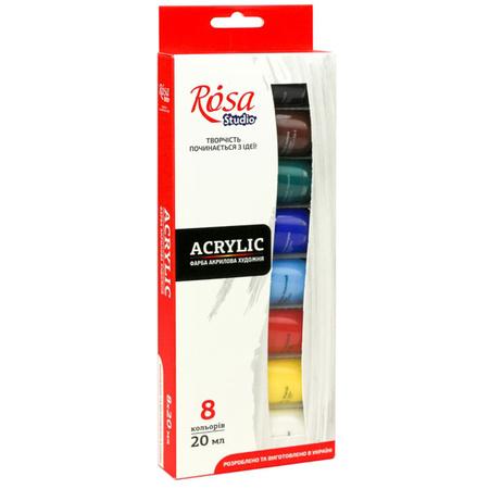 Набор акриловых красок ROSA Studio 8 цветов 20 мл тубы в картоне 90747253