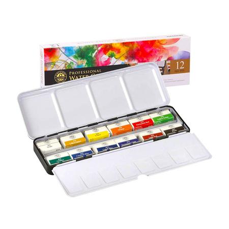 Набор акварельных красок GALLERY 12 цветов 2,5 мл полукюветы в металле MWPH12