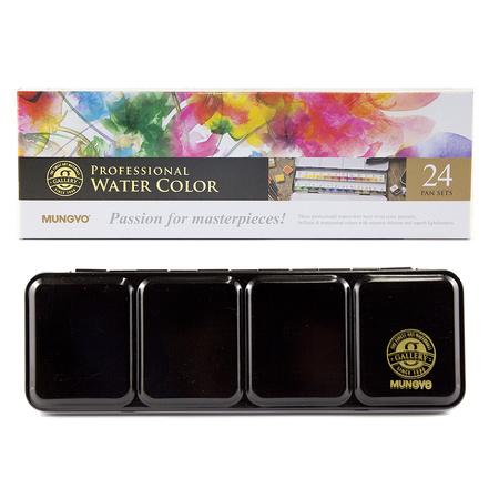 Набор акварельных красок GALLERY 24 цветов 2,5 мл полукюветы в металле MWPH24