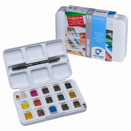 Набор акварельных красок VAN GOGH Pocket box 12 цветов 2,5 мл кюветы + 3 БЕСПЛАТНО 20808632