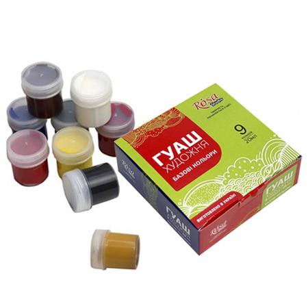 Набор гуашевых красок ROSA Studio 9 цветов 20 мл баночки в картоне 221544