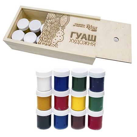 Набор гуашевых красок ROSA START 12 цветов 40 мл баночки в дереве 221547