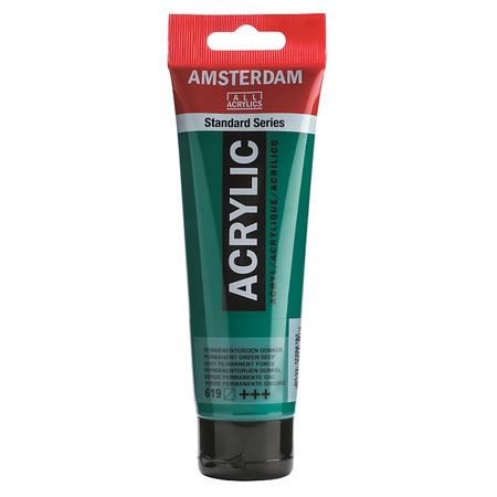 Краска акриловая AMSTERDAM 120 мл (619) Перманентный зеленый темный 17096192