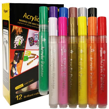 Набор акриловых маркеров универсальных FlySea 2-3 мм 12 цветов FS220312