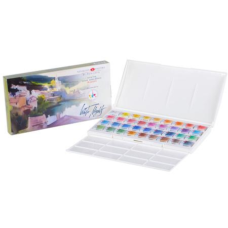 Набор акварельных красок Белые ночи 36 цветов 2,5 мл кюветы в пластике IWS 353252